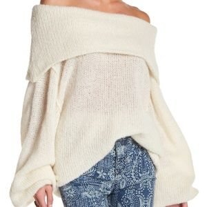 Free People Off the Shoulder Slouchy Sweater Ivory